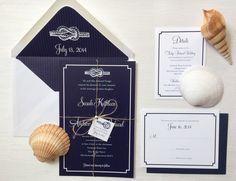 Nautical Knot Wedding Invitation Sample by AmandaDayRose on Etsy