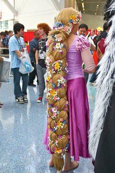 Disney Rapunzel Disneys Tangled Amazing braided with flowers cosplay costume