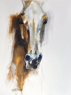 Alert IX - Original Black Chalk and Pastels Horse Drawing