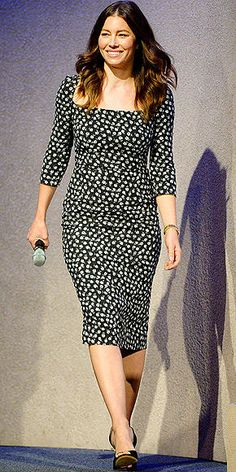 Jessica Biel in a printed Dolce & Gabbana dress