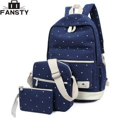 8235d1a44a3f Summer 2017 New Women Canvas Backpack Female Preppy Style Girls school Bag  for Teenagers Spot Printing