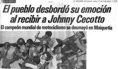 El pueblo desbordó su emoción al recibir a Jhonny Cecotto. Publicado el 15 de septiembre de 1975