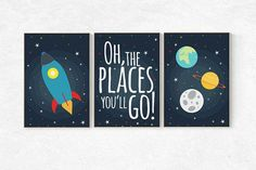 Space themed nursery - Space nursery decor, baby boy nursery oh the places you'll go, outer space nursery, space print, Spa Nursery Reading, Baby Boy Nursery Decor, Boys Bedroom Decor, Baby Bedroom, Baby Boy Rooms, Baby Boy Nurseries, Nursery Prints, Reading Nooks, Bedroom Themes