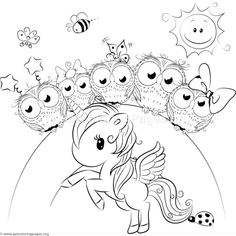 Cute Unicorn and Owls Coloring Pages Unicorn Coloring Pages, Cute Coloring Pages, Printable Coloring Pages, Free Coloring, Coloring Pages For Kids, Lisa Frank Coloring Books, Kids Cartoon Characters, Cute Unicorn, Rainbow Unicorn