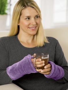 Wrist Warmers - A microwavable insert in these polyester chenille wrist warmers relaxes & soothes hands & wrists while leaving fingers free for reading or typing. The insert slips into a zippered pocket. One size fits most. $24.95