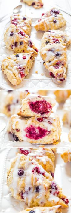 The Best Glazed Mixed Berry Scones - If you've always thought scones were dry, this easy recipe will change your mind forever! No Bake Desserts, Just Desserts, Delicious Desserts, Dessert Recipes, Bread Recipes, Cooking Recipes, Scone Recipes, Breakfast Recipes, Brunch Recipes