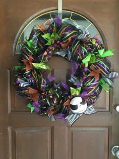 Nightmare before Christmas wreath. Halloween wreath. Disney. Jack Skellington. Black and white stripes. by astrojcreations on Etsy https://www.etsy.com/listing/476897837/nightmare-before-christmas-wreath