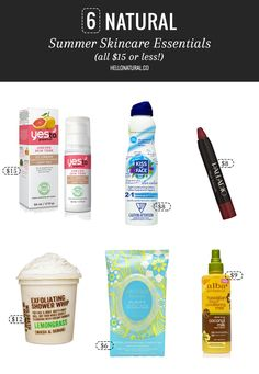 6 Natural Summer Skincare Essentials (all $15 or less!) | http://hellonatural.co/6-natural-summer-skincare-essentials-15-less/
