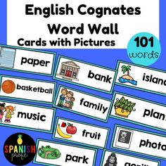 This printable word wall has over 100 cognates (English-Spanish) in English with picture visuals for your ESL, EFL, ELA or Bilingual classroom. Ideal to use during writers workshop, to learn vocabulary or assist in the language learning process.