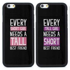 Best Friend Tall/Short Girls Couple Tpu Case for iPhone 4/4S/5/5S/SE/6/6S Plus