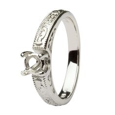 Claddagh celtic solitaire Mount Only 14k white gold ring round cut