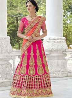 Heavy #Pink Embroidered Bangalori Silk #Lehenga On a pure banglori silk heavy embroidered lehenga and blouse with net sleeves with cut work on back side. Comes with a premium net peach dupatta.