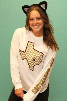 Texas Chevron Maroon Gold Long Sleeve - White