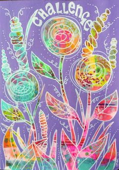 Colourful flowers in my art journal!