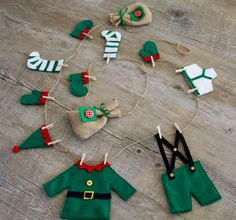 This was designed & handcrafted by me. This Elfs Washing Line, is an original Christmas garland that would look great on the wall, over a mantelpiece or dresser or hung with your Christmas stockings. There are 12 items of clothing hand crafted in felt Felt Christmas Decorations, Felt Christmas Ornaments, Christmas Stockings, Diy Christmas Bunting, Christmas Makes, Noel Christmas, Handmade Christmas, Christmas Projects, Felt Crafts