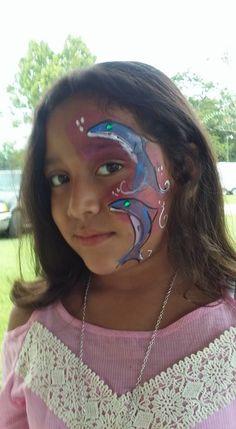 #dolphinfacepaint #beachfacepaint #funfacesballooncreationsfacepaint Dolphin Face Paint, Carnival, Painting, Carnavals, Painting Art, Paintings, Painted Canvas, Drawings