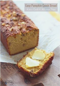 This delicious Keto pumpkin quick bread is fantastic with salted butter, ice cream, or even makes great french toast! Gluten Free, Keto, Atkins, Paleo.