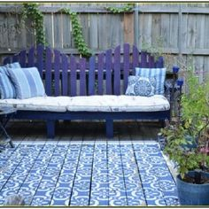 Painted Patio With Patio Concrete Paint Blue Tape And A Homemade Stenc