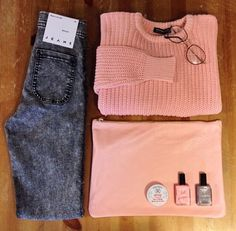 Love this American apparel outfit. Pink knit sweater and grey acid wash jeans