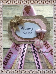 Pink Shabby Burlap Mommy To Be Corsage by AlittleSweetBowtique