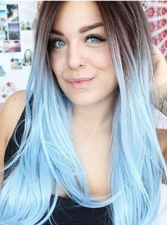 BLACK TO BLUE OMBRE STRAIGHT LACE FRONT SYNTHETIC WIG – FashionLoveHunter