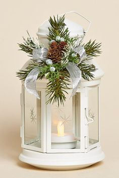 8 inch White Lantern with Removable Collar of Pine, Juniper, a Silver Bow and 120-Hour Battery Tea Light