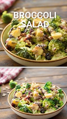 Broccoli Salad is a quick and easy salad recipe that is made in only 15 minutes! Tons of flavor from crunchy broccoli, sunflower seeds, cheese, craisins and topped with a homemade dressing. This a favorite recipe of ours and we bring it to everythi Easy Holiday Recipes, Chicken Salad Recipes, Easy Salads, Healthy Salad Recipes, Summer Salads, Paleo Veggie Recipes, Frozen Broccoli Recipes, Easy Green Salad Recipes, Brocolli Recipes