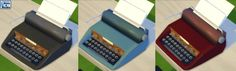 Vintage Typewriter (Functions as computer) by Esmeralda at Mod The Sims via Sims 4 Updates