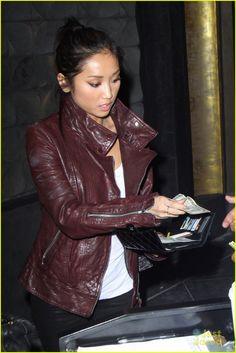 Brenda Song | leather jacket