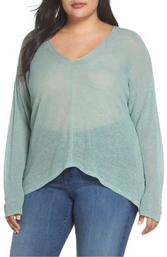 Boxy Organic Linen Blend Sweater,                         Main,                         color, Elm