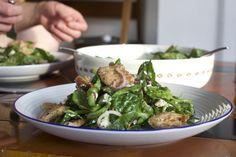 Date, pitta, almond & sumac spinach salad