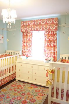 TWINS Changing table in the middle of the cribs could be helpful. I don't know, I'm pretending I have twins to pin on this board. Nursery Twins, Nursery Room, Orange Nursery, Yellow Nursery, Elephant Nursery, Small Twin Nursery, Nursery Dresser, Nursery Curtains, Room Baby