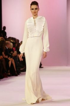 Cream long sleeve dress by Stephane Rolland Spring 2014 Haute Couture