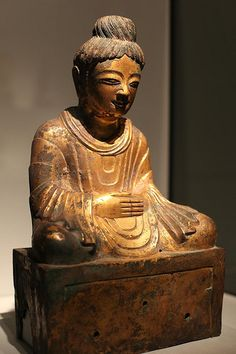 Gilt bronze Buddha statue dated by an inscription on the base to 338 CE. This is the earliest known dated Buddha image made in China and, according to the museum, appears in almost every major publication on early Chinese Buddhist sculpture. Its style is influenced by that of the Gandhara region (parts of modern-day Pakistan, Afghanistan and NW India), which traveled along the Silk Road to China.