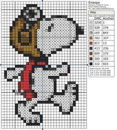 free Snoopy cross stitch pattern. もっと見る