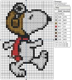 free Snoopy cross stitch pattern.