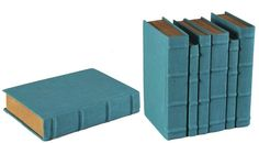 Decorative Books Robin Egg Blue Linen Sewn Shut Assorted set of 6 new Ship Free