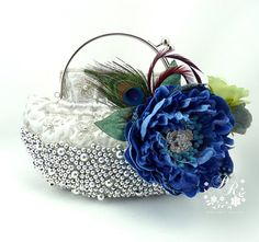 Wedding Clutch Millinery Flowers Peacock by PureRainDesigns,