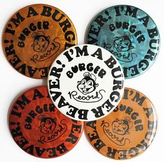 Busy Beaver + Burger Records mash-up buttons