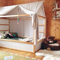 Boys room by TUBU Kids The Ikea Kura bed is even more versatile than you might imagine. You can paint it, add a canopy, wallpaper, garland…and also use plywood to build something custom (what do you think about making some pull-out drawers or build a little forest house?). The Kura bed is reversible, and it […]