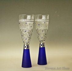 Wedding Glasses, Royal Blue Glasses, Champagne Glasses, Hand Painted Set of 2: