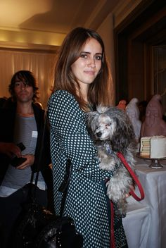 """Natalie Hughes is accessing all areas at #LFW for ASOS: """"Sunday Girl singer Jade Williams and her poodle, Brian. Best dog name ever."""""""