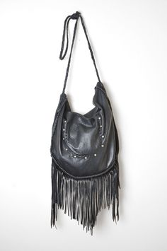Heyoka Leather by Leslie Crow, Tucson, Arizona.  Biker Mama Bag in black.  Fringe, Studs, Braid, Elk, Deerskin, Purse, Hippie Luxe, Bohemian.