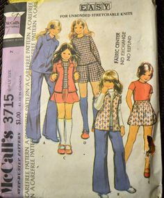 Vintage Sewing Pattern McCall's 3715 Girls' Shirt, Skirt, and Pants Size 7 Complete by GoofingOffSewing on Etsy $5