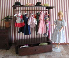 Vintage Doll Furniture  RARE HTF Halls Open Armoire by TheToyBox, $100.00
