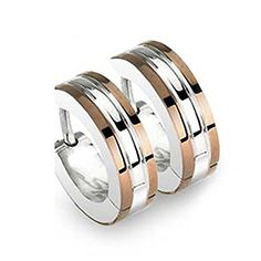 High Polished Surgical Stainless Steel 2 Tone Huggie Hoop Earrings with Bronze Plated Edges (Hinged Snap) (Length: 14MM Width: 4MM) * Check this awesome product by going to the link at the image.