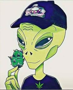 Aliens love it too.ahh the fresh smell. Dope Kunst, Marijuana Art, Medical Marijuana, Trippy Wallpaper, Stoner Art, Weed Art, Alien Art, Dope Art, Psychedelic Art