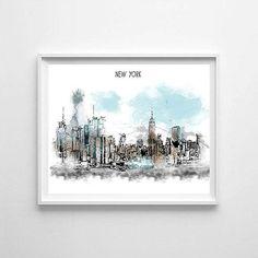 New York New York printable New York skyline New York art