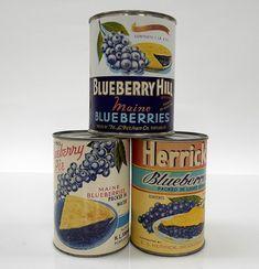 Vintage Maine Blueberry Labels on Vintage Tin Cans