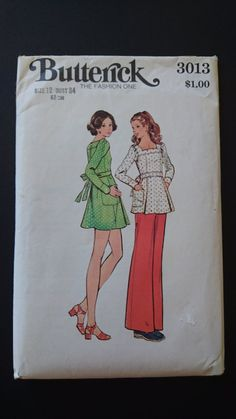 Butterick 3013 1970s CUT  tunic  and pants by StarletPatterns